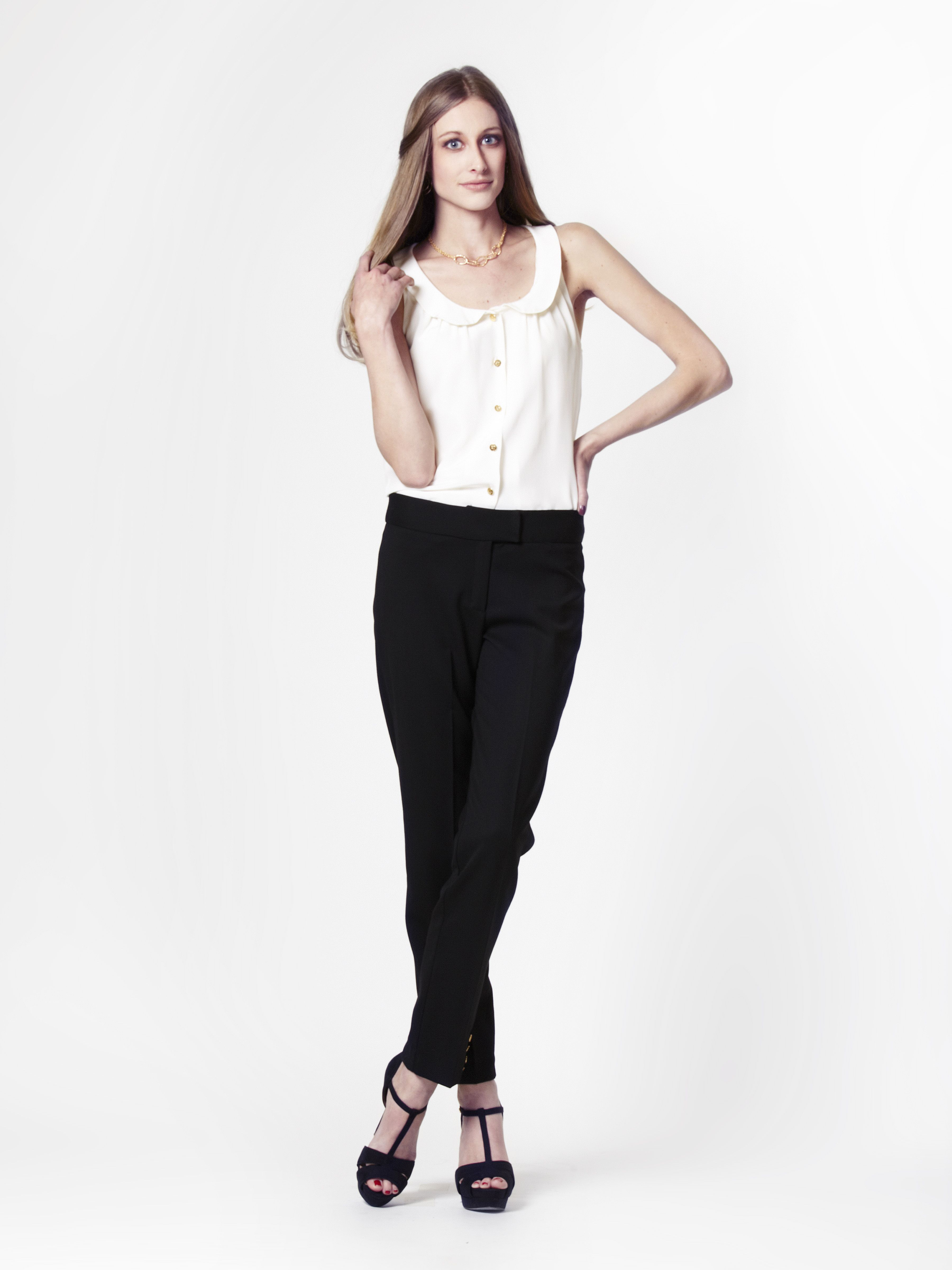 Beth Top in Cream Silk + Cigarette Pant in Black Wool by LEONA
