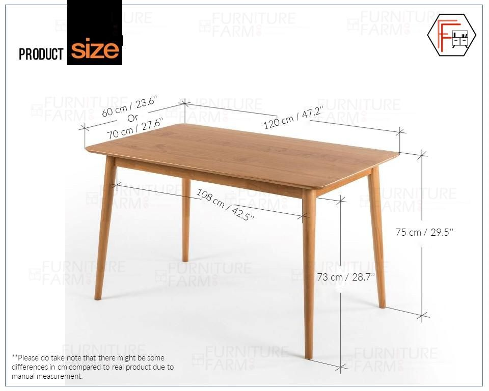 Like Bug 120x60 Cm Zinus Fully Rubber Wood Dining Table Wood