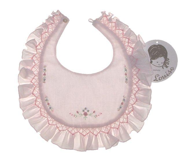 NEW Sarah Louise Pink Smocked Baby Bib with Embroidered Flowers $25.00 #SmockedBabyBib