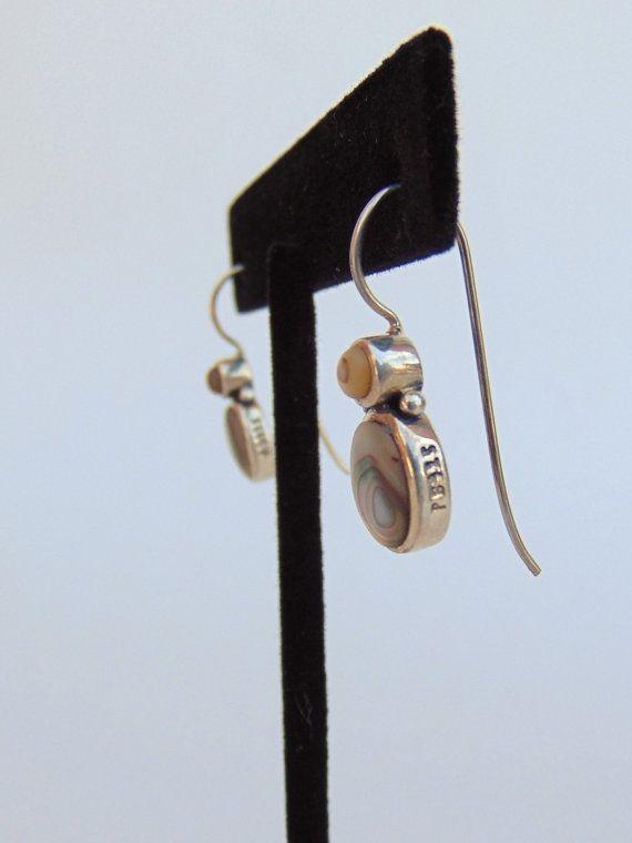 Sterling Abalone Shell Drop Earrings Signed by RetroRebelTrading