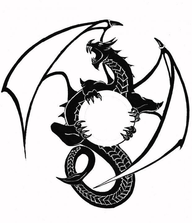 6477a451d8782 Dragon Logo Black and White by Ed Overson | Dragon Logo | Dragon art ...
