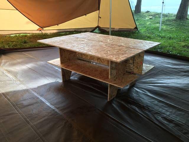 キャンプ用に材料の安いosbパネルでテーブルを作ってみました今まで使ってたロールトップテーブルとサイズを合わせ900 700 400の仕上がりです テーブル モールディング ロールトップテーブル