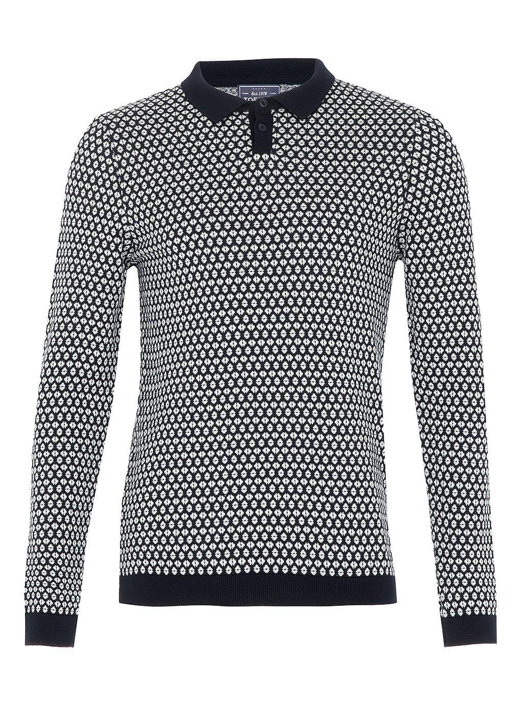 26abcc6601 Navy Diamond Pattern Polo Shirt - Mens Polo Shirts - Clothing - TOPMAN USA
