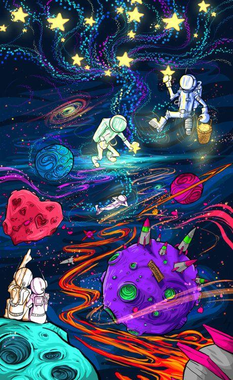 psicodélico Papel de parede trippy Desenho dos planetas