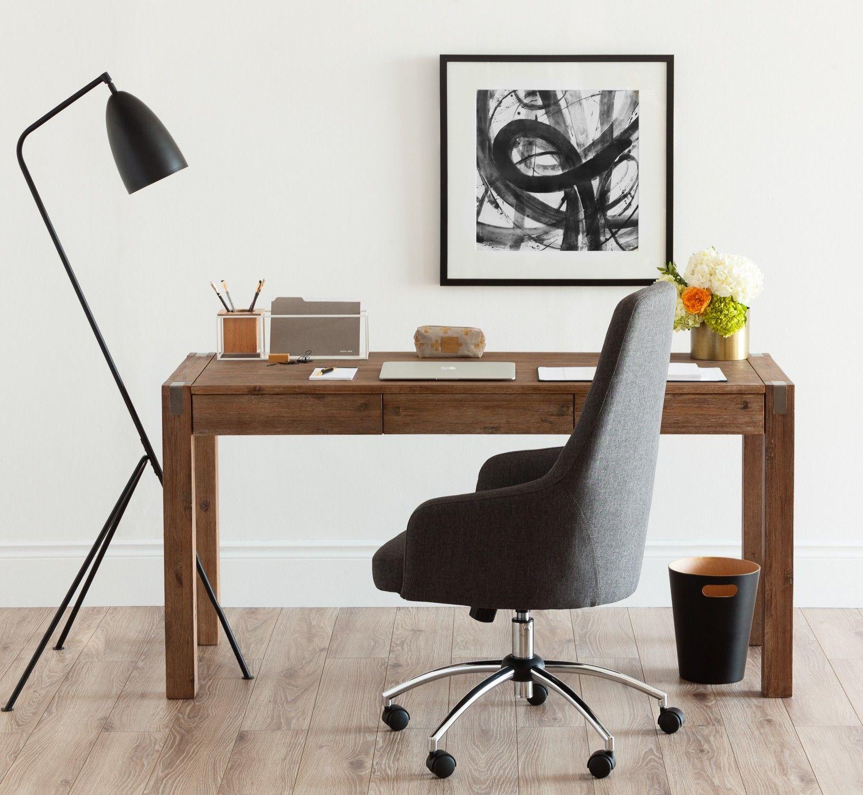 Frankfurt acacia wood desk 59 grey