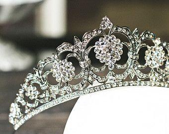 Victorian Bridal Tiara, Swarovski Crystal Bridal Crown, Silver Bridal Diadem, Tiara, Crystal Wedding Tiara, Diamante Tiara, Bridal Tiara