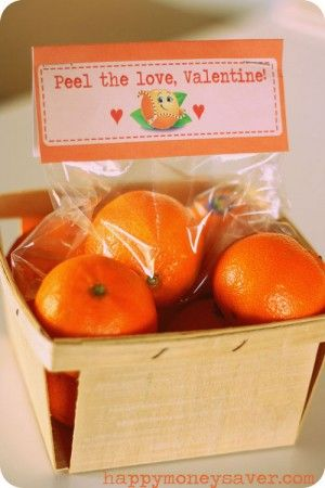 """Cuties oranges in a cute little old fashioned wood crate w/ a cute tag that says """"(Can you) Peel the love Valentine!"""""""