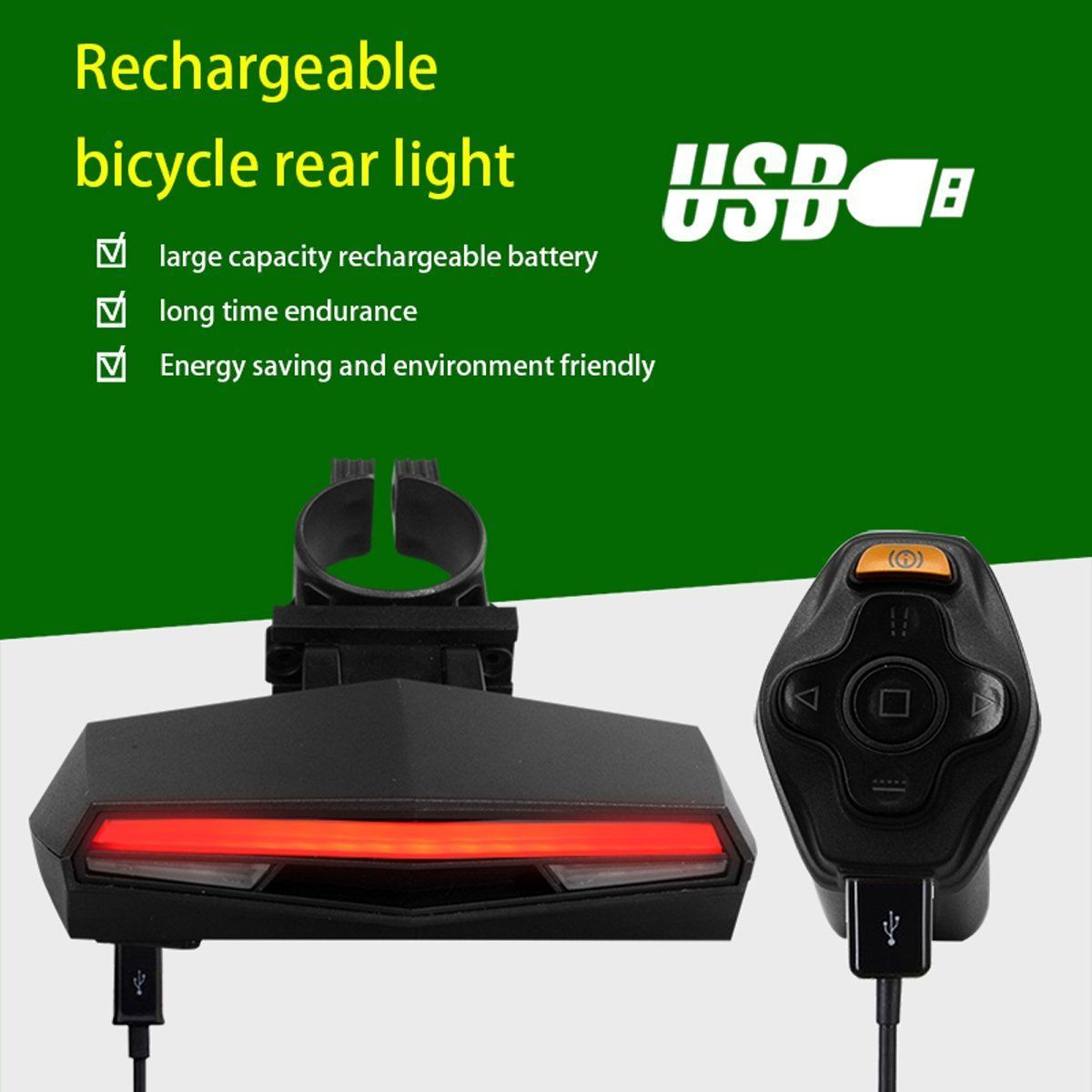 Wireless Waterproof Remote Control Bicycle Turning Rear