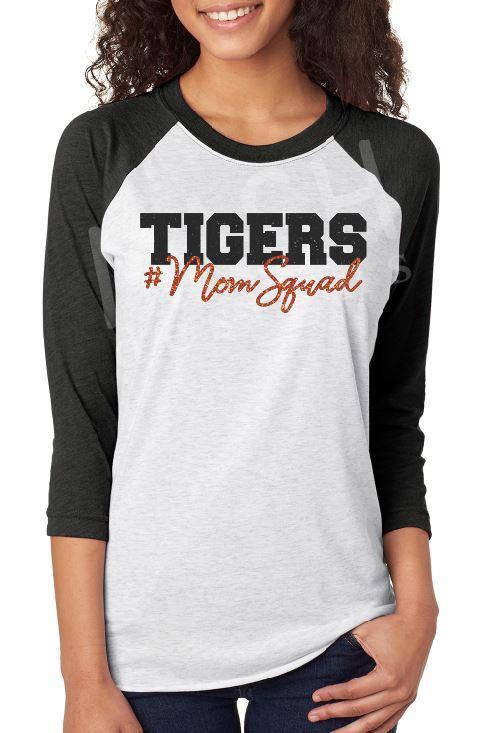 9bcf100e4bf0 Glitter #MomSquad Raglan tee, mascot mom shirt, mascot mom squad 3/4 sleeve  raglan, football mom, baseball mom, school pride shirt, tigers mom