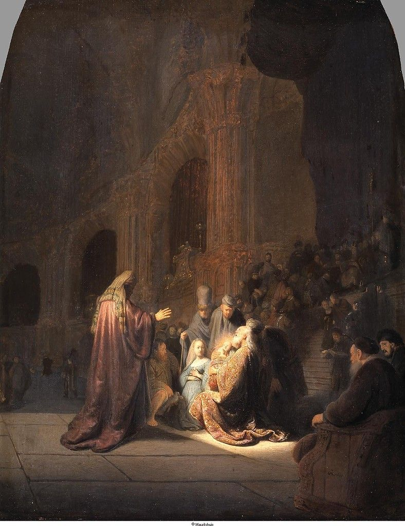 Rembrandt - Песнь (Гимн) Симеона, 1631, 60,9 cm x 47,9 cm, Дерево, масло Маурицхёйс, Гаага Представление Иисуса в Храме