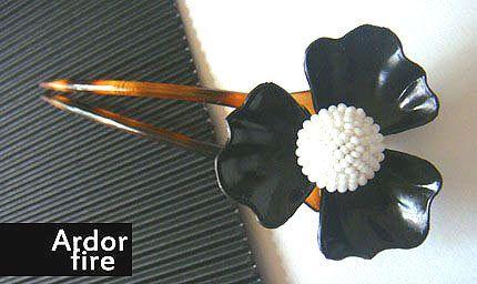 Black and white flower tortoise shell hair stick by ardorfire, $26.00