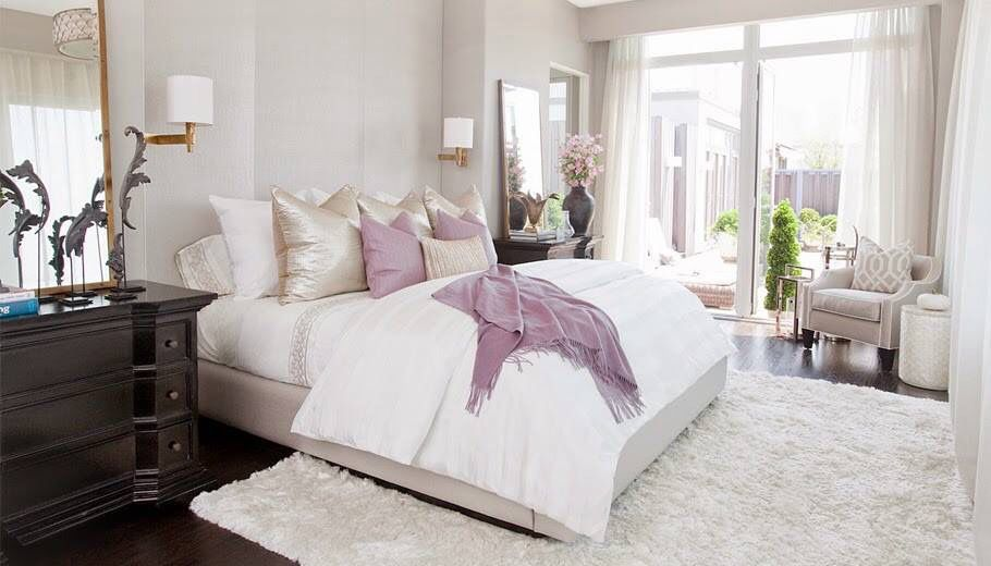 Good White And Lavender Bedroom