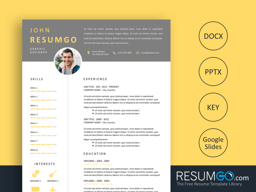 isokrates  u2013 gray header resume template