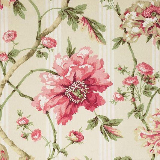 Abundance Curtain Fabric Climbing Floral Print Fabric In Pinks