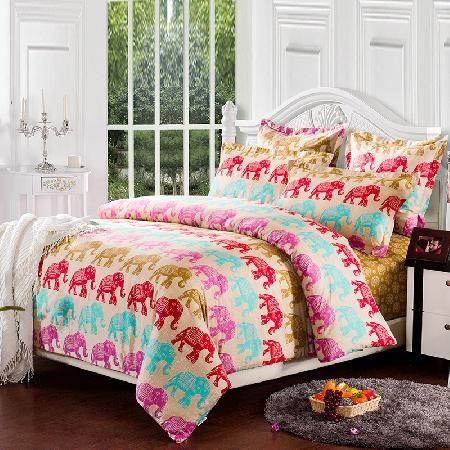 Queen Size Elephant Bedding.Colorful Indian Good Luck Elephant Print Jungle Safari Theme