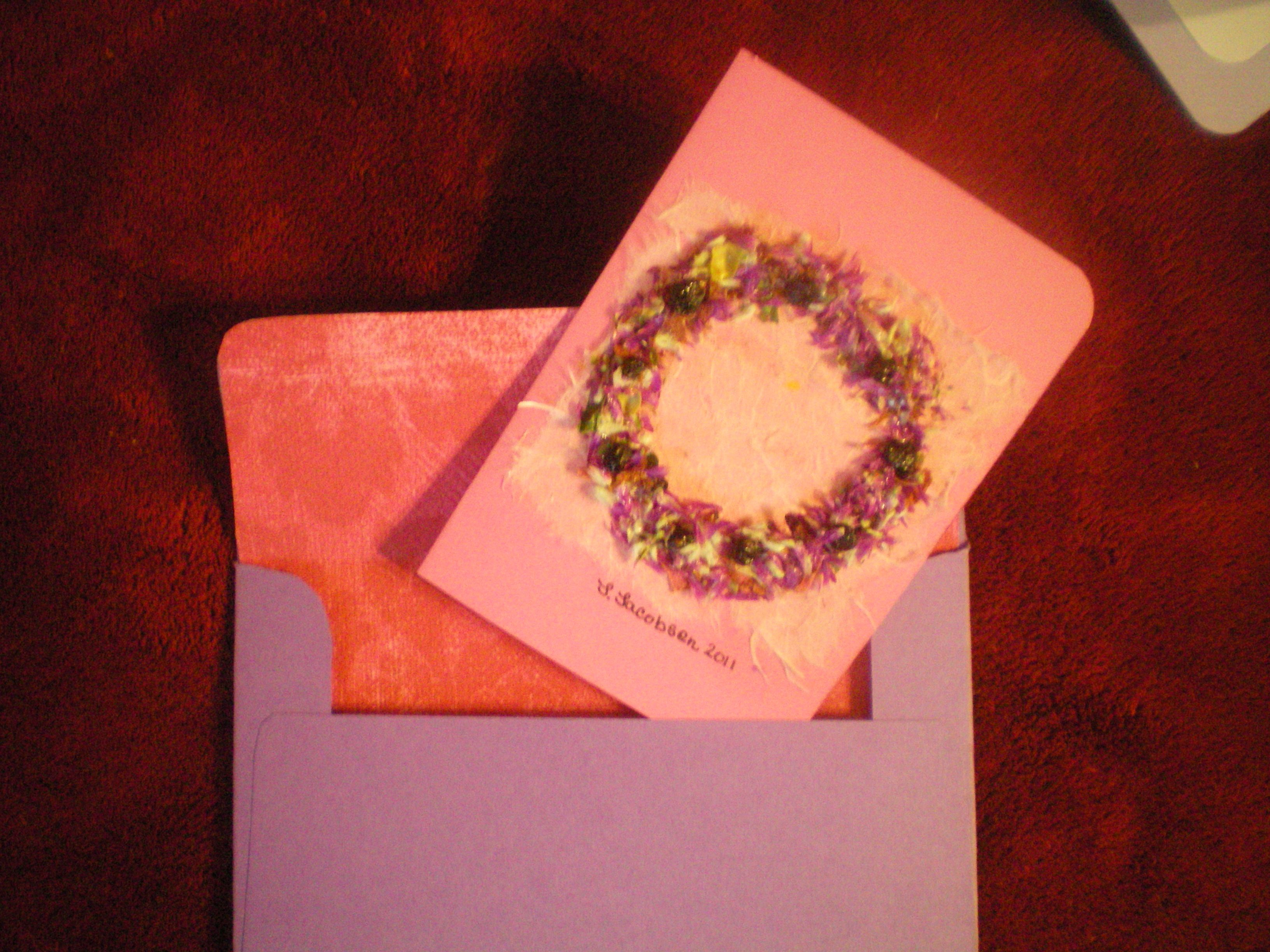 How to scrapbook dried flowers - Card Envelope I Made From My Homemade Paper Dried Flowers Cardstock And Scrapbook
