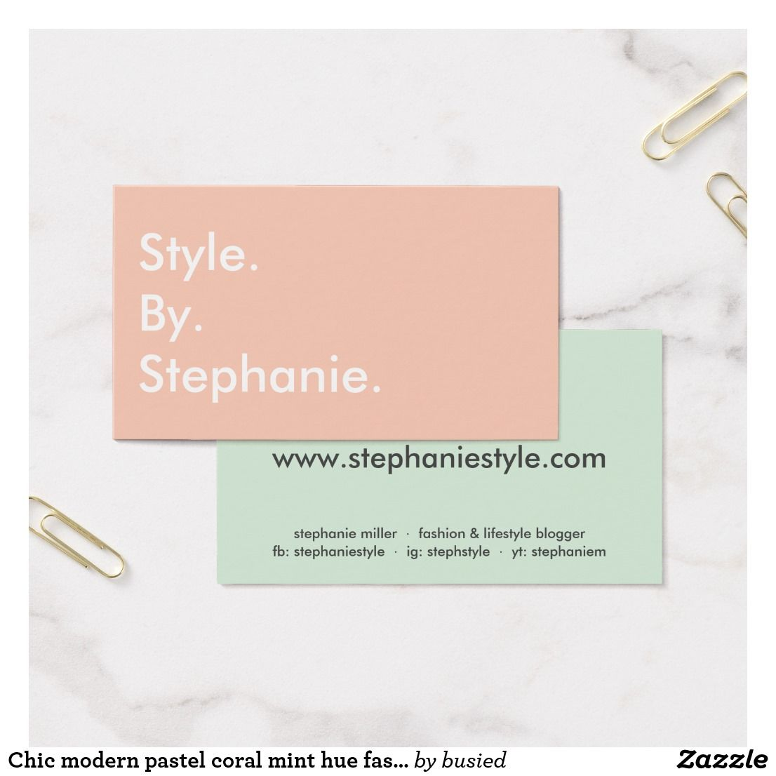 Chic modern pastel coral mint hue fashion blogger business card colourmoves