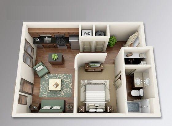 Beau Planos De Apartamentos Pequeños De Un Dormitorio. Studio Apartment PlanOne  ...