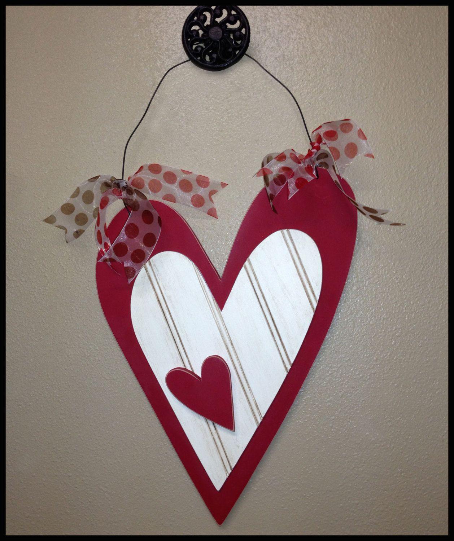 Valentines Wood 3 Heart Wall Or Door Hanger By Jwdecor On Etsy Valentine Wood Crafts Valentines Door Hanger Diy Valentines Crafts