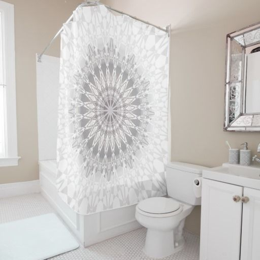 Pink And Grey Bathroom Shower Curtains