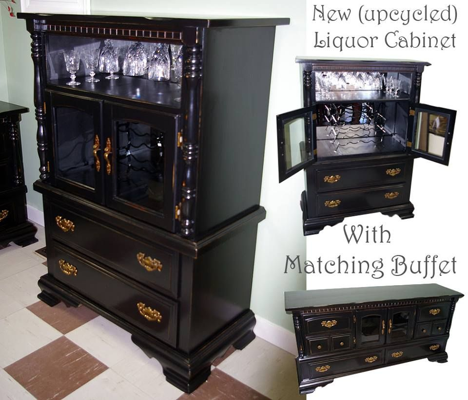 Liquor cabinet to matching buffet, distressed wood and ...
