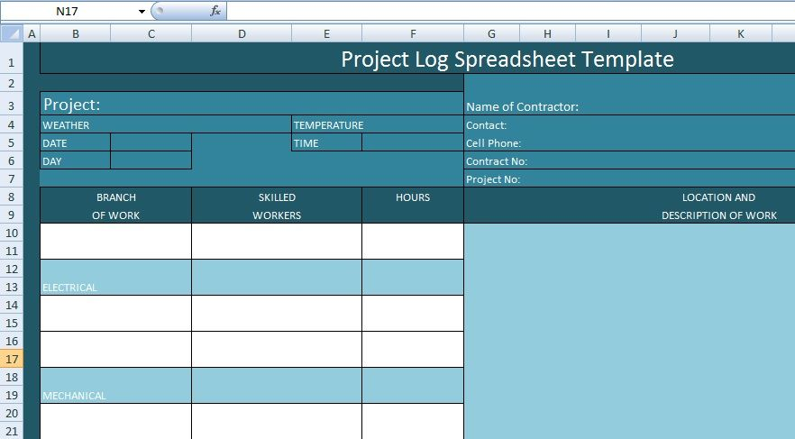 Project Management Log Spreadsheet Template  Excel Spreadsheet