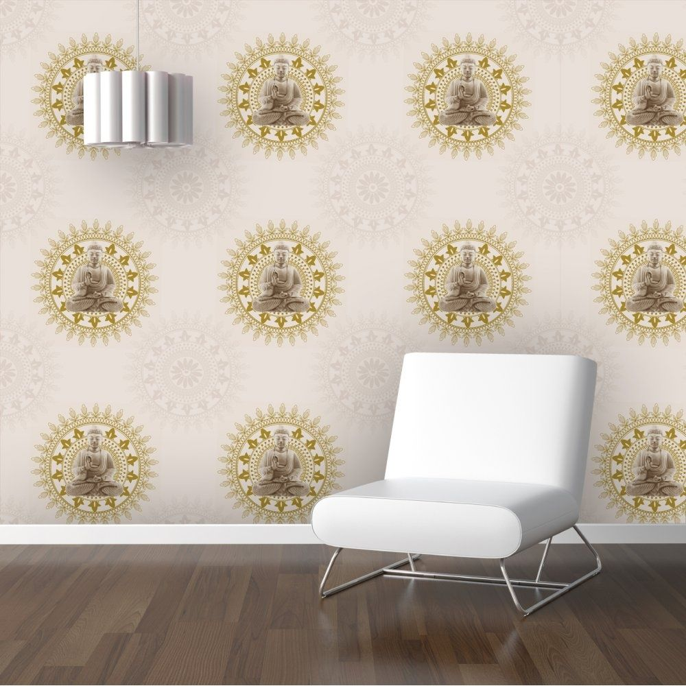 ... Charming Buddha Wallpaper For Bedroom #7   BonBon Buddha Wallpaper  Cream / Gold (9705 ...