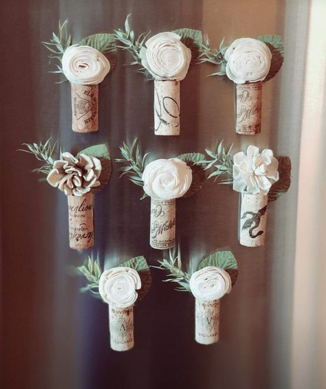 Cork Boutonniere: Wine Corks Magnets With Sola Wood Flowers