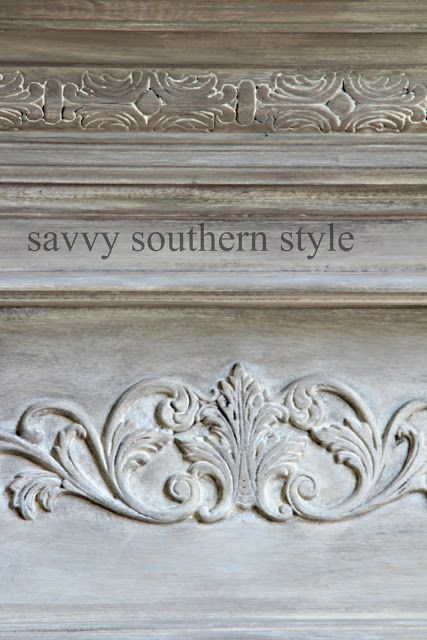 Savvy Southern Style ASCP French Linen with heavy white wash, then MMS Typewriter milk paint mixed into her wax and layered onto the mantle