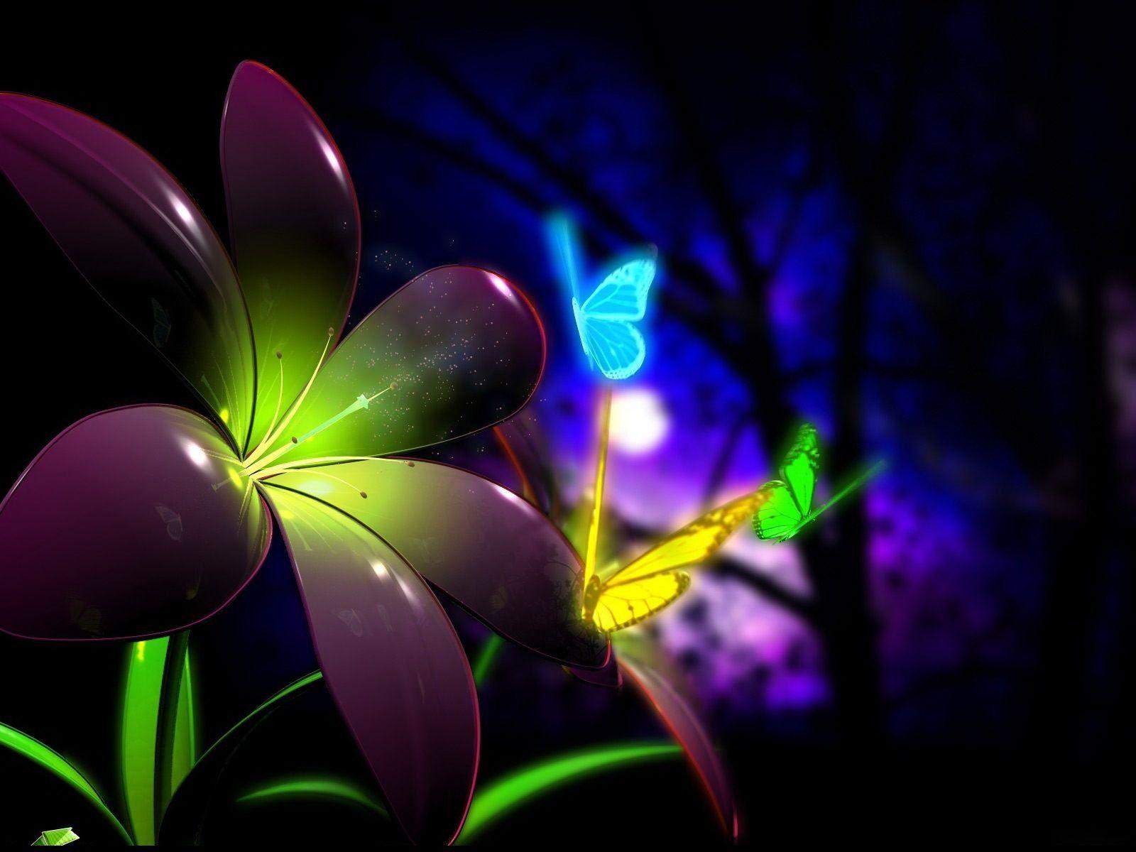 3d Hd Flower Glass Wallpaper