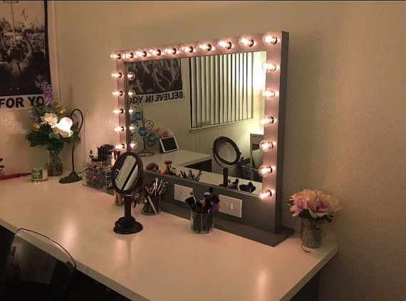 bluetooth makeup mirrors view back of head  LARGE Lighted Vanity Mirror with Plug Ins