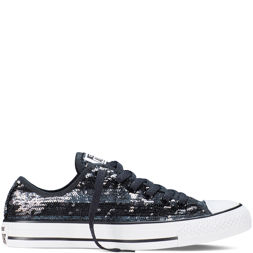 42c58c6fd78be3 Chuck Taylor All Star Sequins Black Silver White black silver white -  women s size 9.