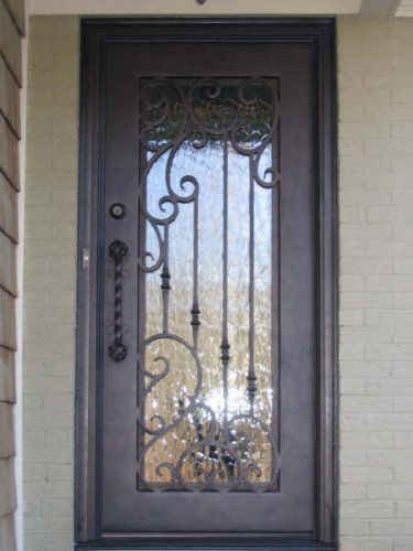 Single square top wrought iron front door calhoun for Single front entry doors
