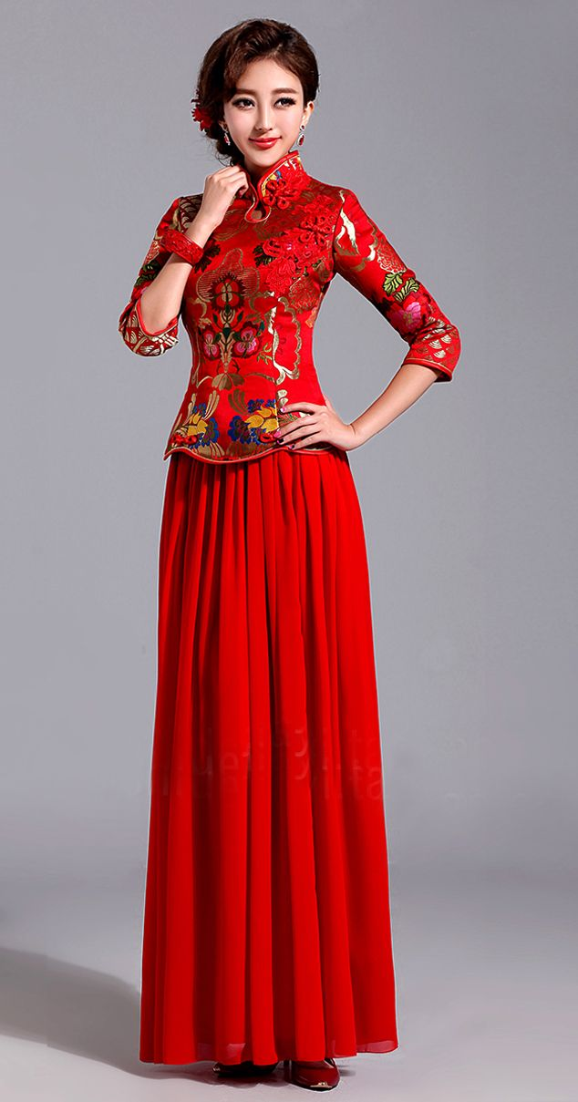 Floor length mandarin collar Chinese red brocade cheongsam wedding ...