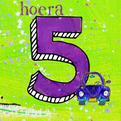 Verjaardagskaart 5 jaar auto - Verjaardagskaarten - Kaartje2go ...