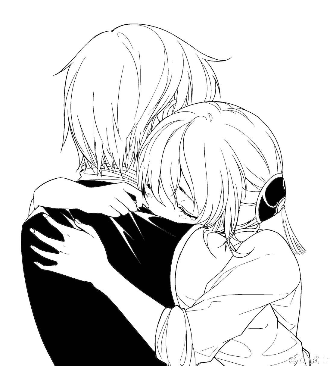 Черно-белые аниме картинки пары