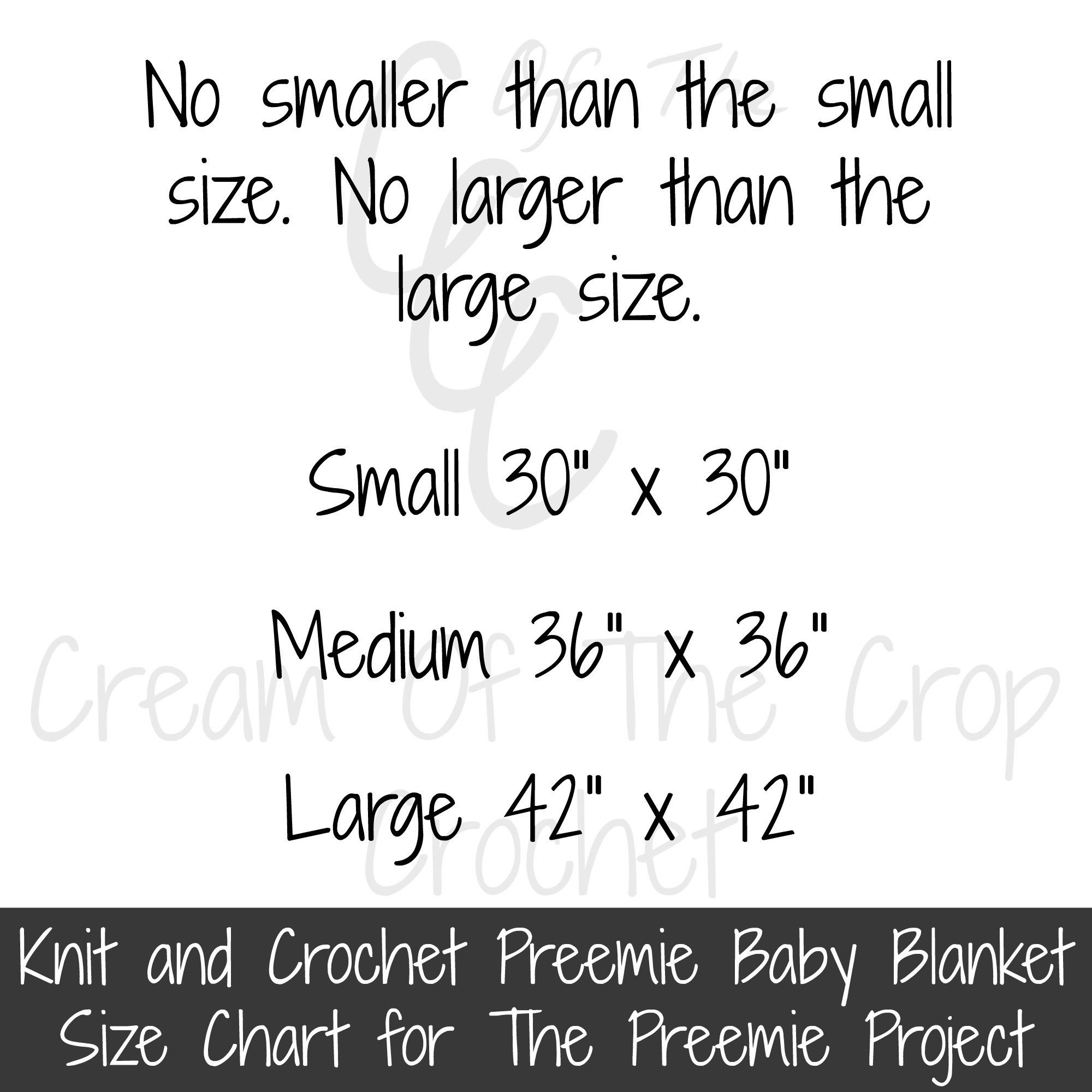 The Preemie Project Blanket Size Chart
