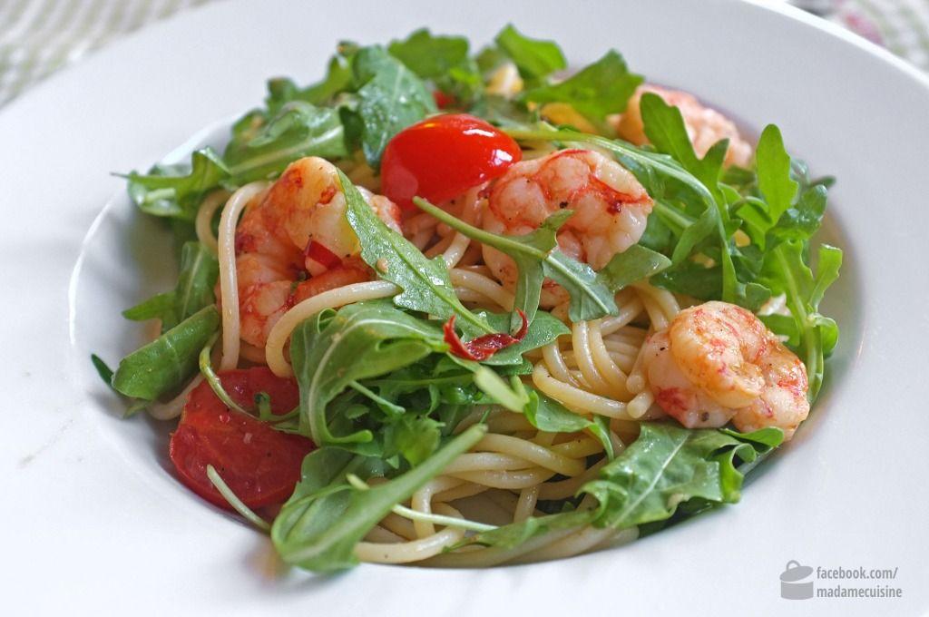 Spaghetti aglio e olio con Gamberetti - Madame Cuisine