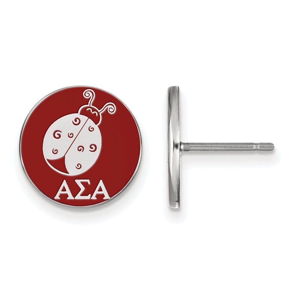 LogoArt Sterling Silver Alpha Sigma Alpha Enameled Post Earrings