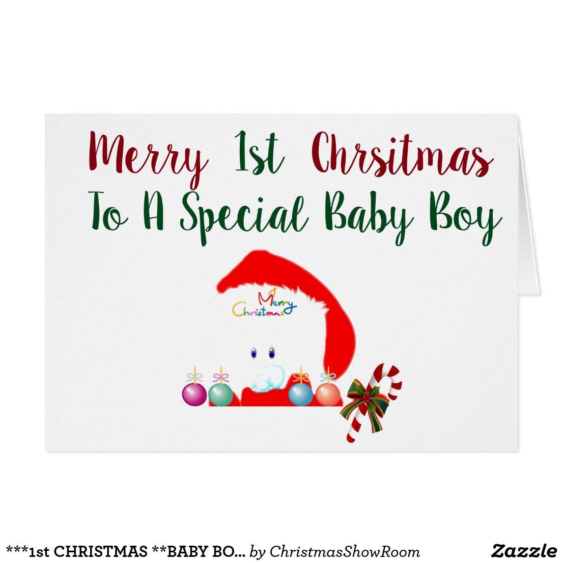 1st Christmas Baby Boy Card Babies