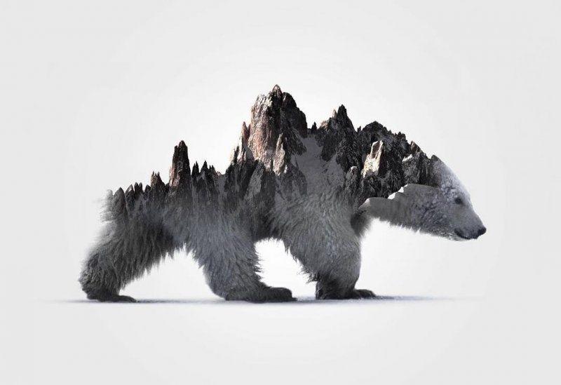 Белый медведь арт