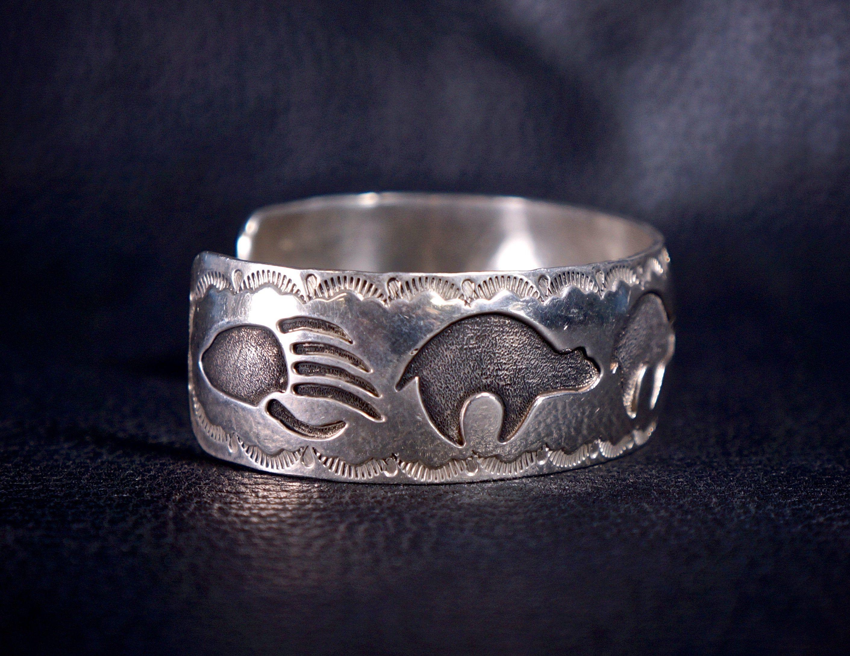 Vintage Navajo Bear Sterling Stamped Silver Bracelet
