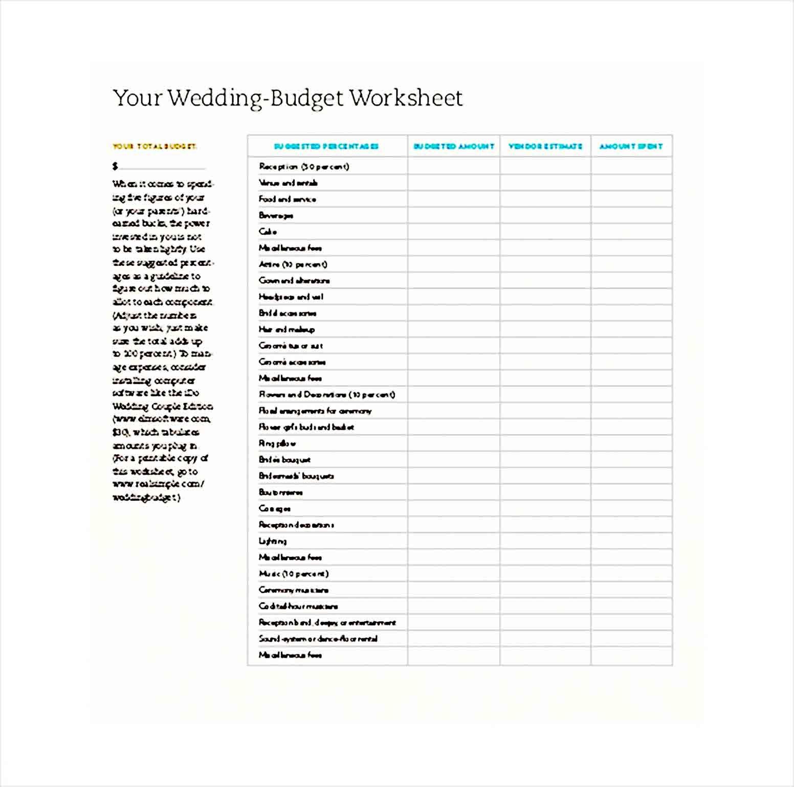 Sample Wedding Budget Wedding Budget Worksheet Budget Wedding Budgeting