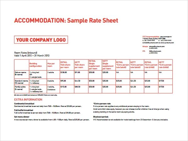 15 Free Rate Sheet Templates Printable Word Excel Pdf Samples Word Template Words Card Template