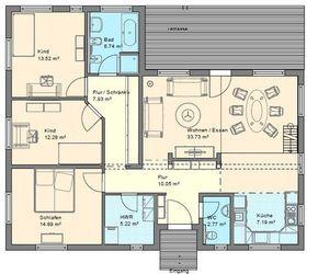 Hauspläne bungalow  Winkelbungalow mit Hems und Satteldach - Dänisches Bungalow - Haus ...