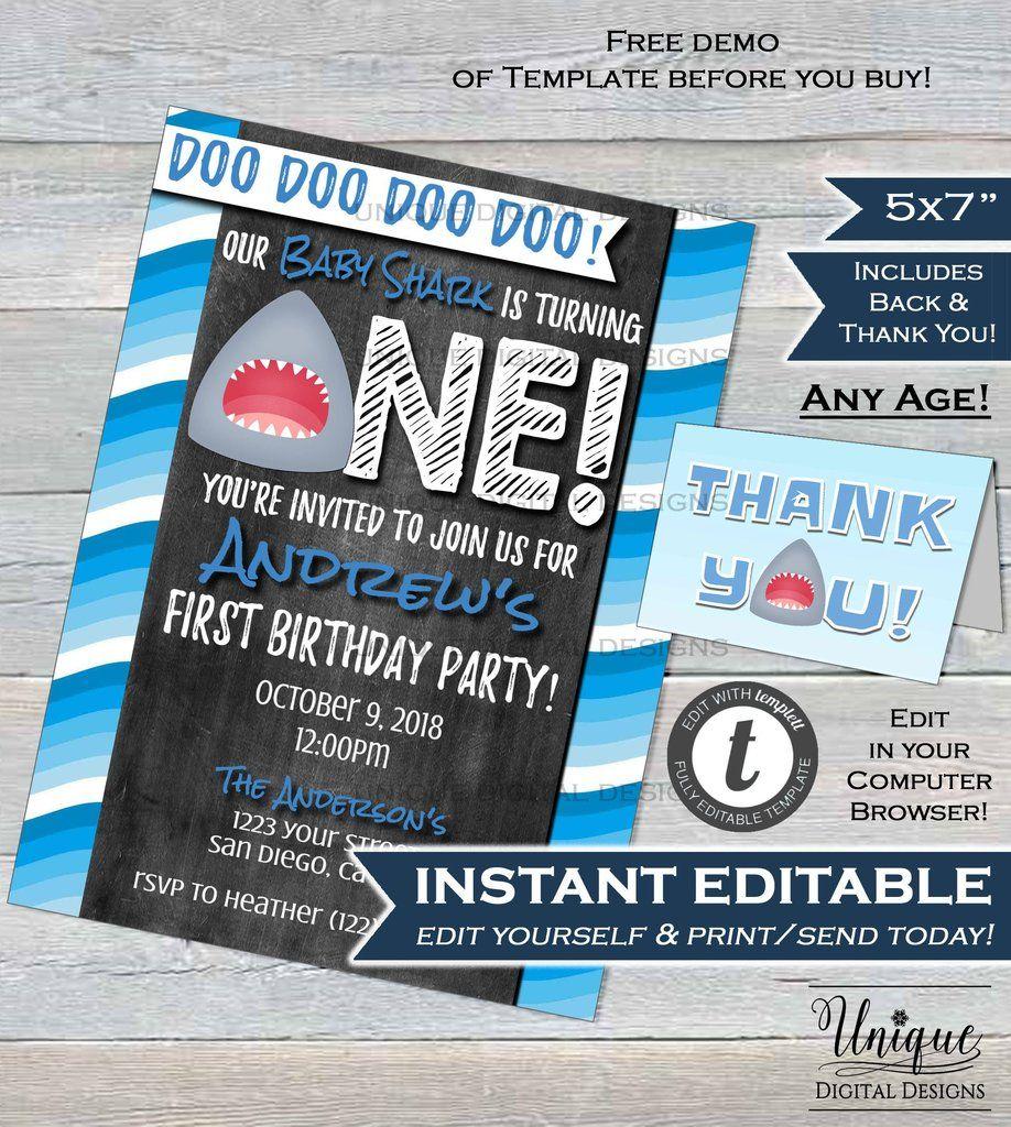 Baby Shark Birthday Invitation Boy 1st Birthday Baby Shark Doo Doo