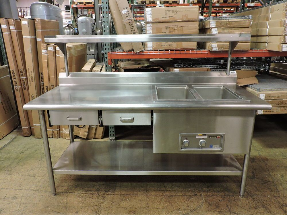 Custom Commercial S Work Table W Wells Mod200td 2 Drawers Over Undershelf