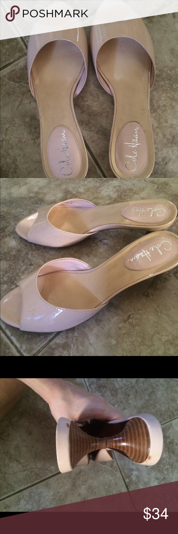 Cole haan Nike air pink/nude open toe shoes Cole haan Nike air technology. Low (.5in) heel. Only flaw is tiny spot on back of each heel Cole Haan Shoes Sandals