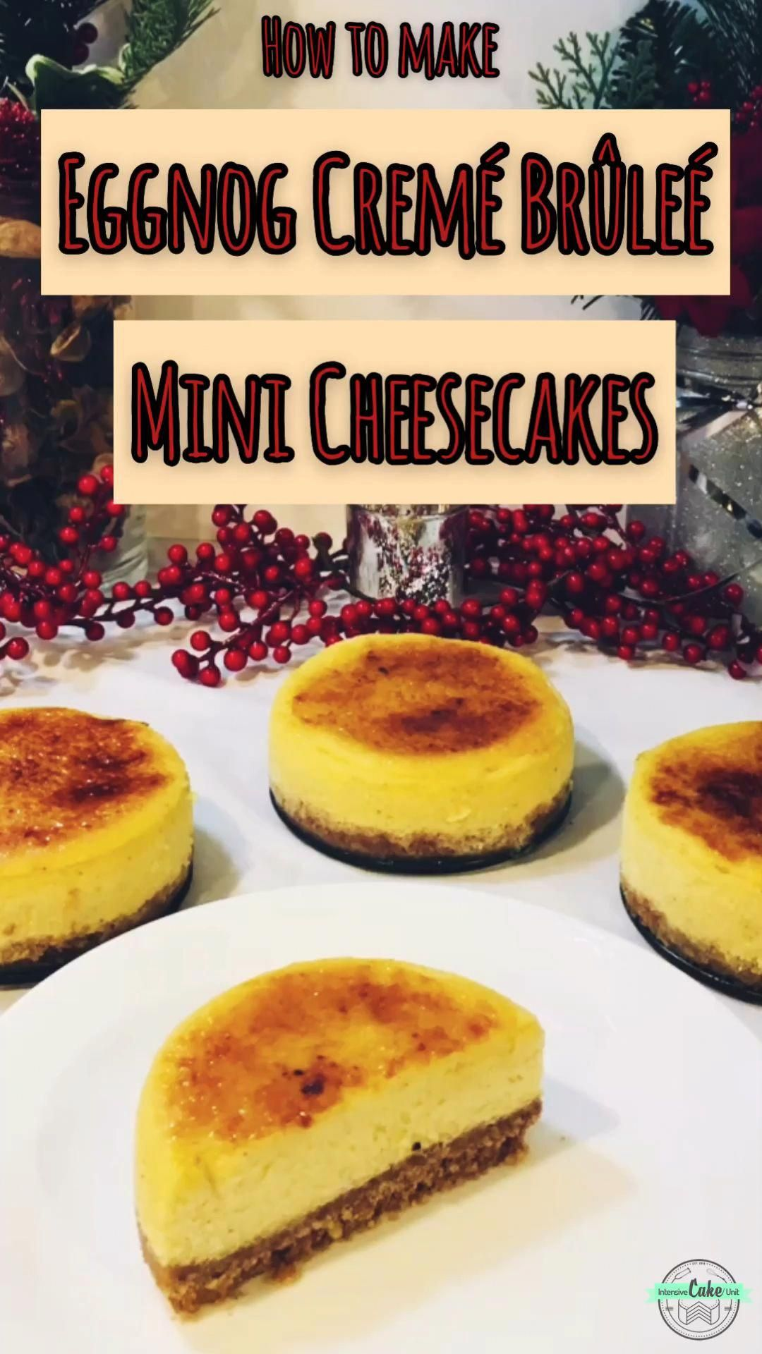 Easy and decadent Christmastime dessert - creamy eggnog #cheesecake pairs beautifully with a ginger snap crust and brûléed sugar topping! ❤️