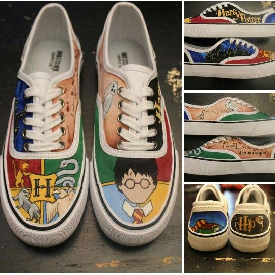 5603570b3d5 Harry Potter shoes - custom hand painted - hogswart - visit  www.facebook.com/loveleyni to order yours in ANY theme